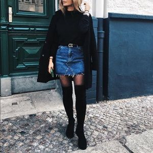 Zara Black Suede Over The Knee Boots